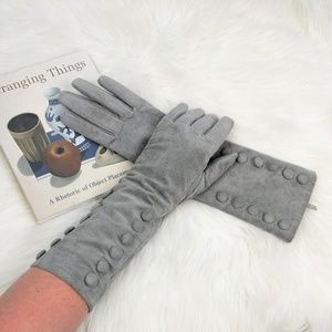 Suede Long Button Gloves Vintage Pin Up Style Grey